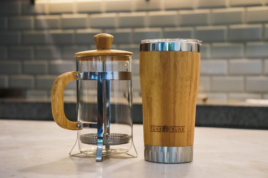 The Funk Trunk Bamboo French Press and Bambucup are the best morning duo.