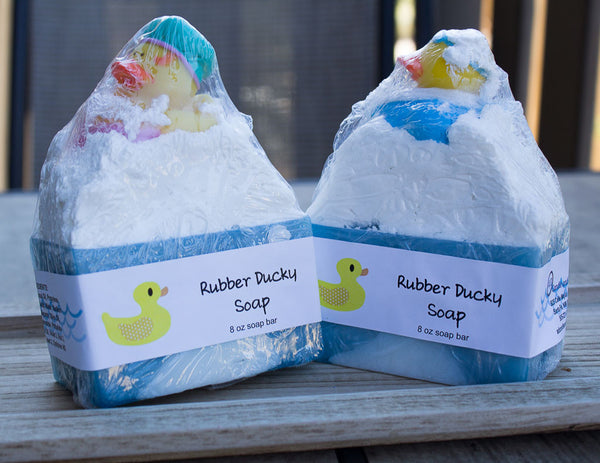handmade birthday soap favors with rubber ducks