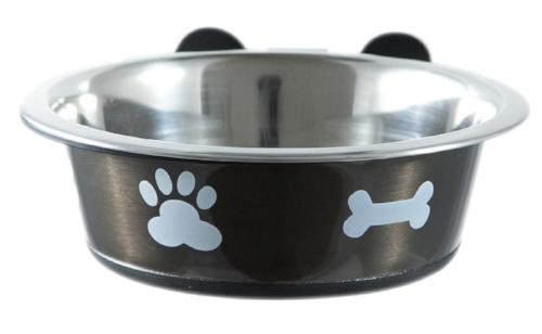 grey stainless steel dog bowl and wall mounted dog bowl holder