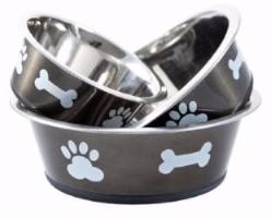 graphite stainless steel dog bowl from bigpaws.co