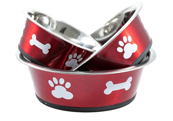 red stainless steel dog bowl from bigpaws.co
