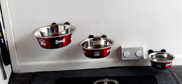 wall mounted dog bowls BIGPAWS.CO stainless steel dog bowls