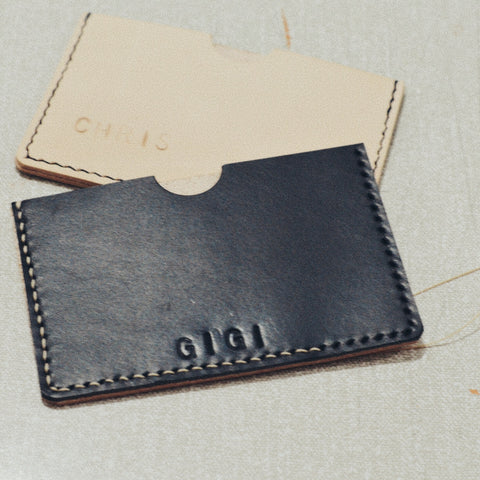 handstitching leather card holders with mollum vellum