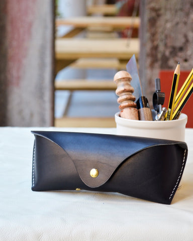handmade leather sunglasses case for leathercraft workshop