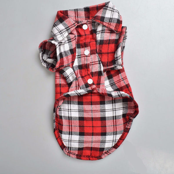 Alfred Plaid Button-Up Shirt - Red - Haute Dog Shop