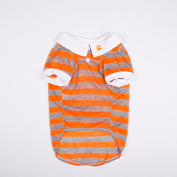 Joey Pull-Over Striped Polo Shirt - Orange - Haute Dog Shop