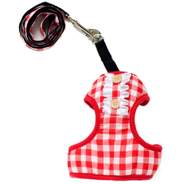 Plaid Harness - Red - Haute Dog Shop