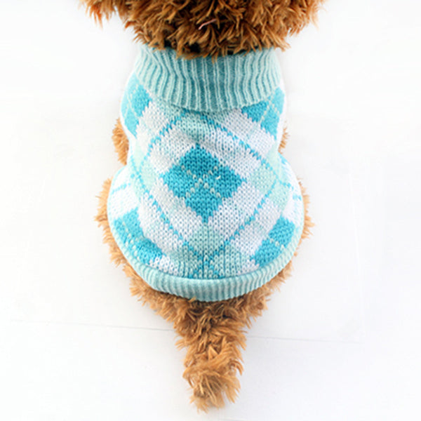 Charlie Checkers Sweater - Blue - Haute Dog Shop