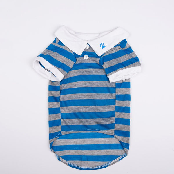 Joey Pull-Over Striped Polo Shirt - Blue - Haute Dog Shop