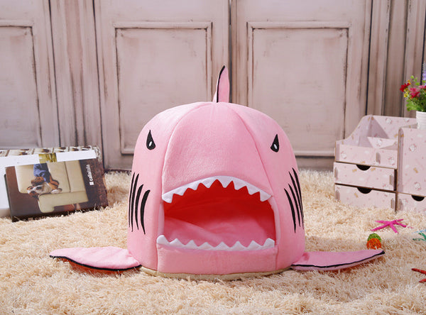 Shark Attack Doggie Bed - Pink - Haute Dog Shop