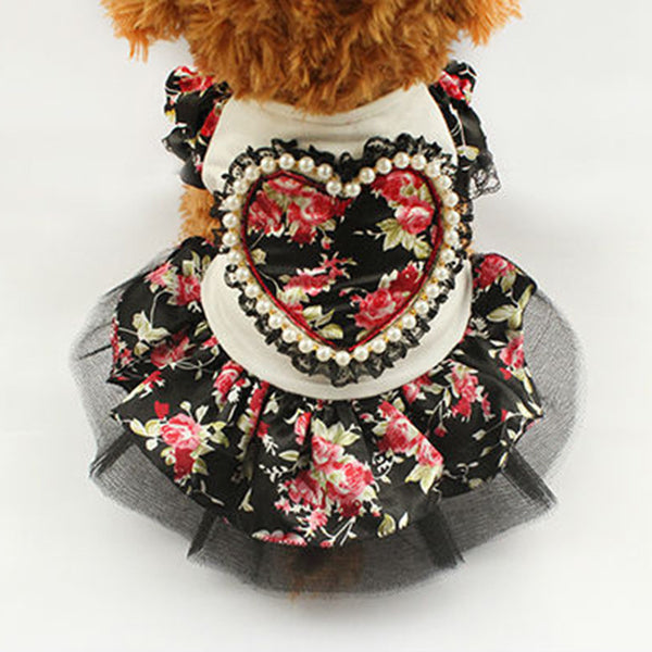 Daisy Picnic Dog Dress - Black - Haute Dog Shop