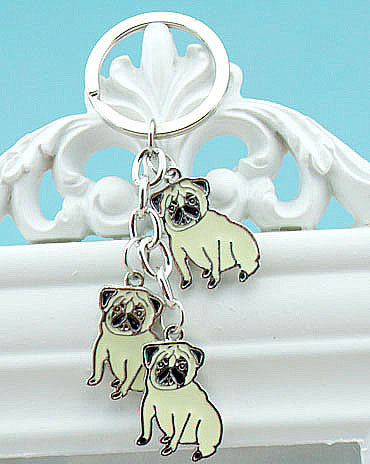 Pug Trio Key Chain - Haute Dog Shop