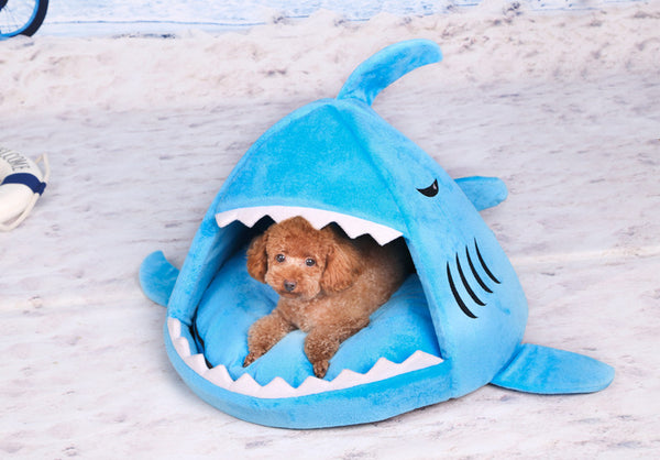 Shark Attack Doggie Bed - Blue - Haute Dog Shop