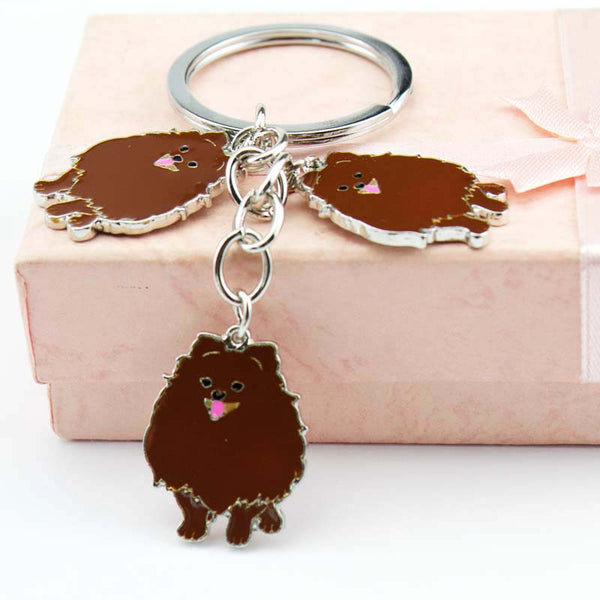 Pomeranian Trio Key Chain - Brown - Haute Dog Shop