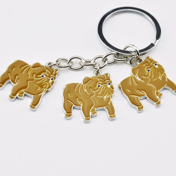 English Bulldog Trio Key Chain - Haute Dog Shop