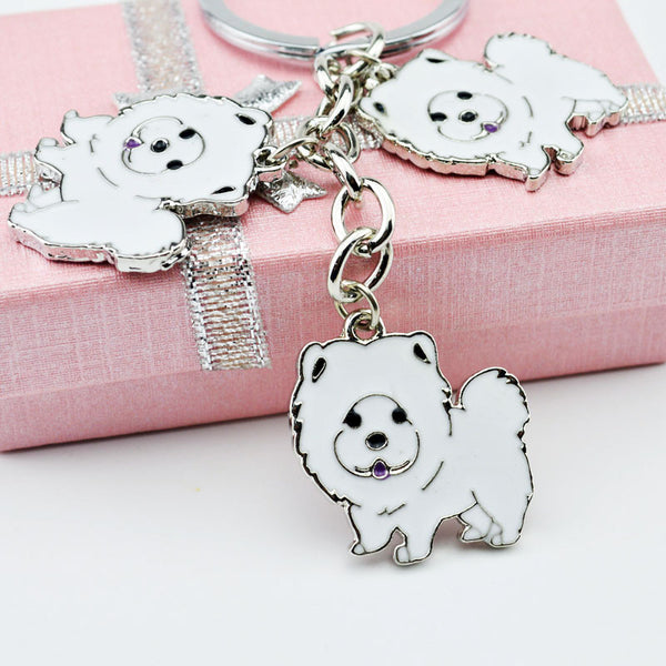 Chow Chow Trio Key Chain - White - Haute Dog Shop