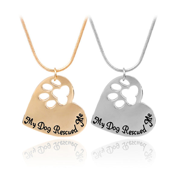 My Dog Rescued Me Necklace - Haute Dog Shop
