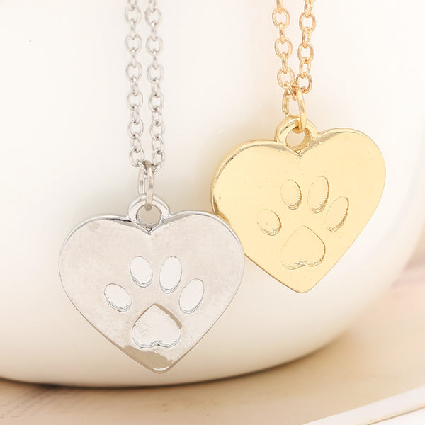 Paw Print Heart Necklace - Haute Dog Shop