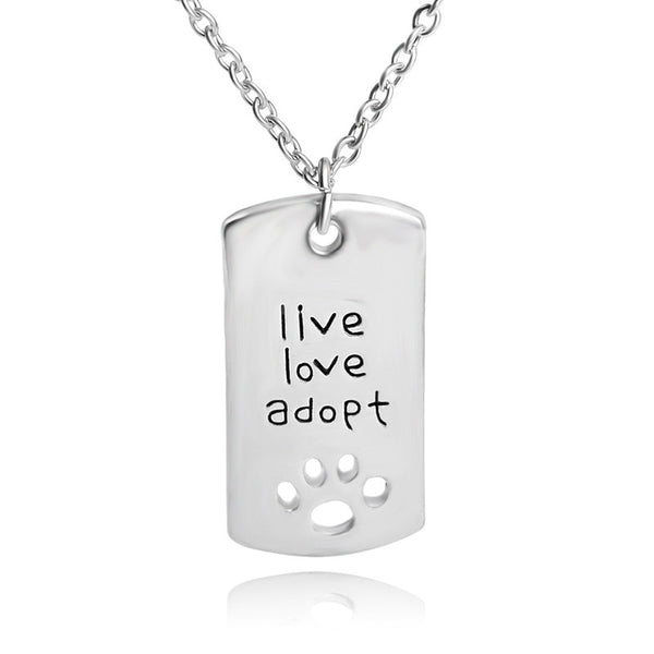 Live Love Adopt Paw Print Necklace - Haute Dog Shop