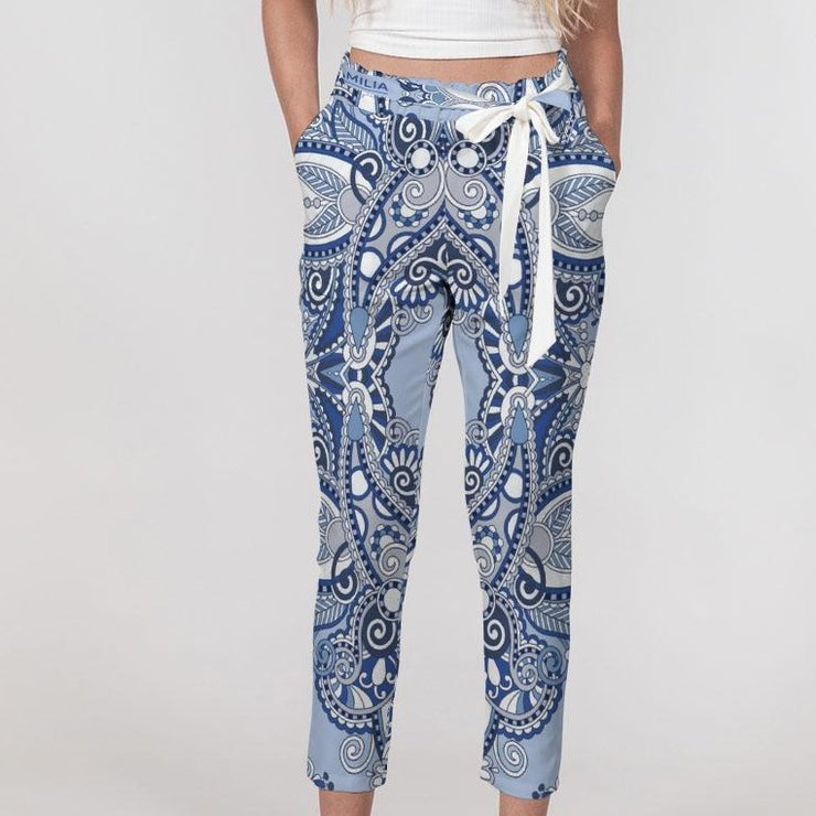 DON FAMILIA BLUE LONDON Women's Belted Tapered Pants
