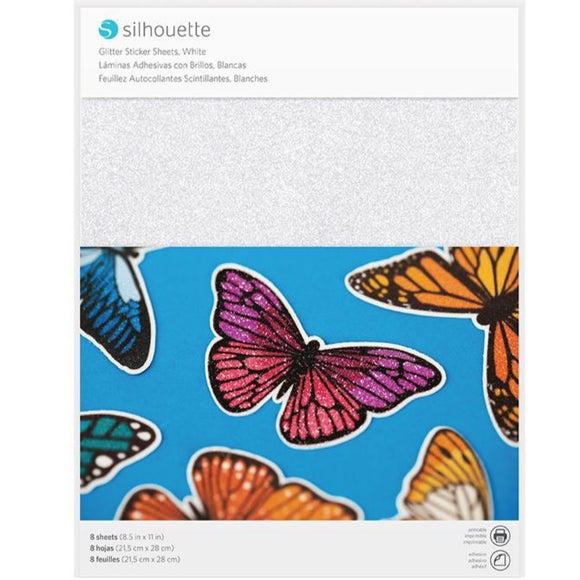 Sticker Sheets - White Glitter - Silhouette Canada