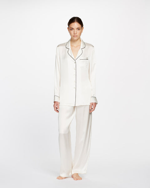Silk Pajama with Contrast Piping