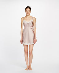 Silk Chemise With Pintucks and Lace