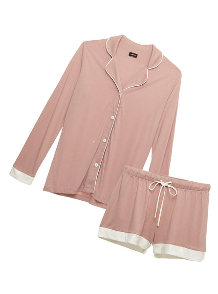 Bella Bridal Long Sleeve Top & Boxer Pajama Set