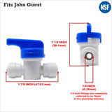"Water Filter Tube Pipe 1/4"" 6mm to 1/4"" Shut Off Valve In-Line Tap John Guest Fit - Thefridgefiltershop"