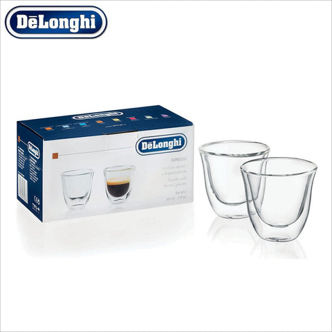 Genuine Delonghi Espresso Double Wall Thermo Glasses - Set of 2 - Thefridgefiltershop