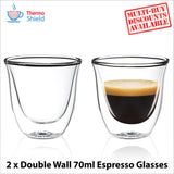 Espresso Double Wall Dual Thermo Shield Insulated Glasses for Delonghi - Thefridgefiltershop