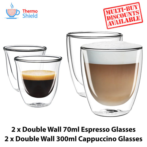 2 x Espresso + 2 x Cappuccino Double Wall Thermo Glasses Glass Cups Coffee Set - Thefridgefiltershop