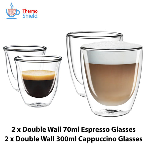 2 x Espresso + 2 x Cappuccino Double Wall Thermo Glasses Glass Cups Coffee Set for Delonghi - Thefridgefiltershop