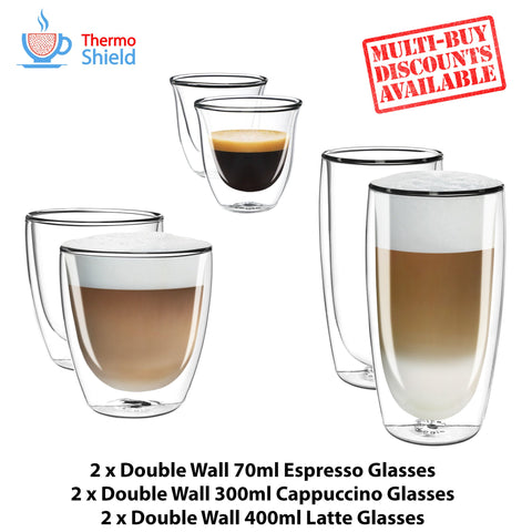 2 x Espresso, 2 x Cappuccino, 2 x Latte Double Wall Cups Mugs Glasses Glass Set - Thefridgefiltershop