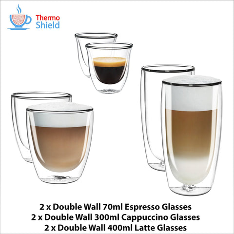 2 x Espresso, 2 x Cappuccino, 2 x Latte Double Wall Cups Mugs Glasses Glass Set for Delonghi - Thefridgefiltershop