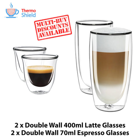 2 x Espresso + 2 x Caffe Latte Double Wall Dual Cups Mug Glasses Glass Coffee Set - Thefridgefiltershop