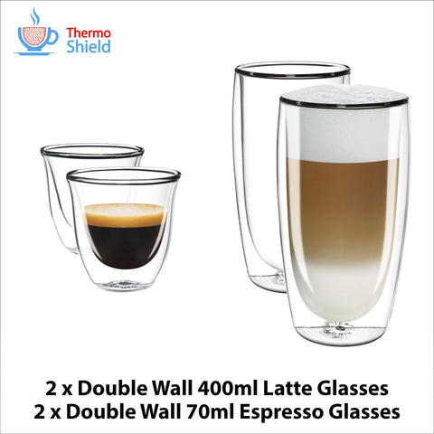 2 x Espresso + 2 x Caffe Latte Double Wall Dual Cups Mug Glasses Glass Coffee Set for Delonghi - Thefridgefiltershop