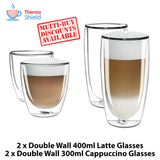 2 x Cappuccino + 2 x Caffe Latte Double Wall Dual Thermo Glasses Glass Set - Thefridgefiltershop