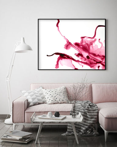 Red Alcohol Ink Wall Art