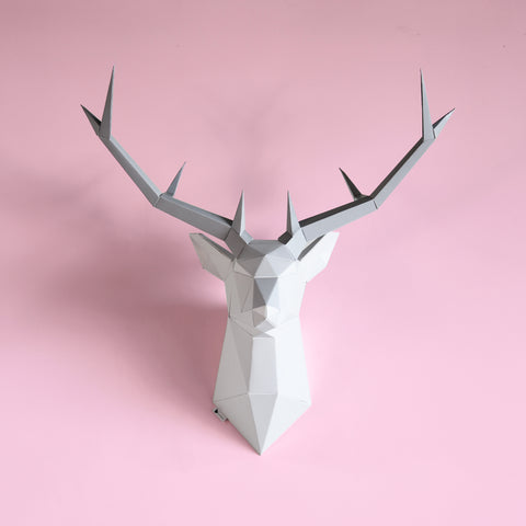 Deer poly head wall trophy animal horns interior decor home decor design polygon geometry design