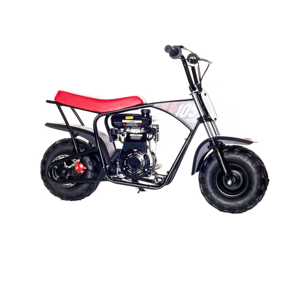 Classic Red & Black 105cc Gas Mini Bike with Front Suspension