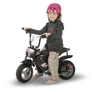 e-mini classic with pink decals and girl riding