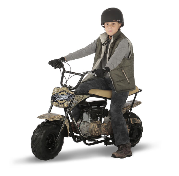 realtree mini bike - boy sitting on bike