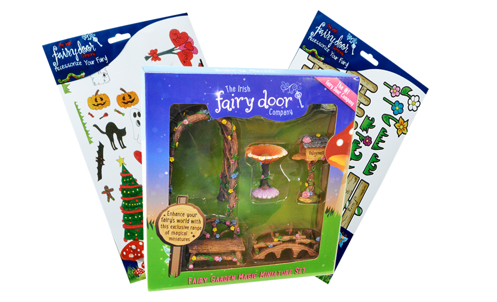 5-Piece Fairy Garden Miniature Set PLUS 2 Decals