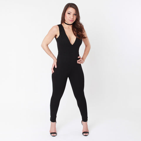 Christina Lace Bodice Black Jumpsuit