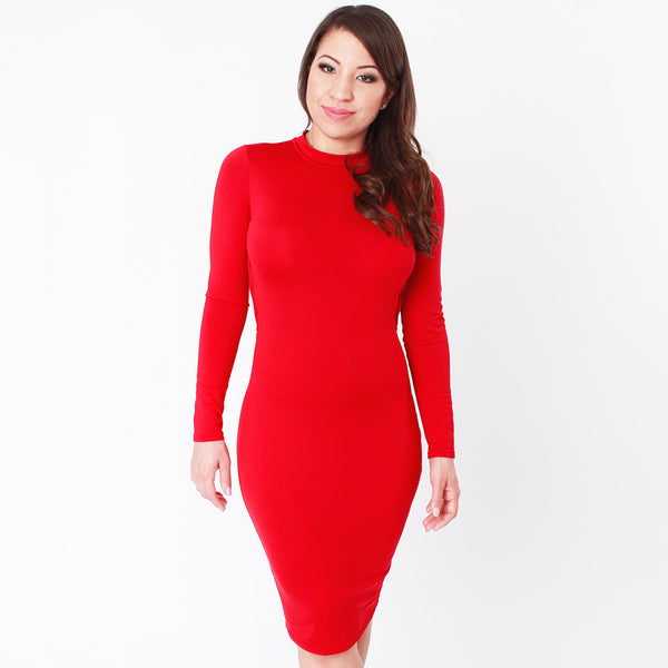 Carmen Red Long Sleeve Midi