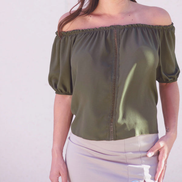 Nina Olive Off The Shoulders Top