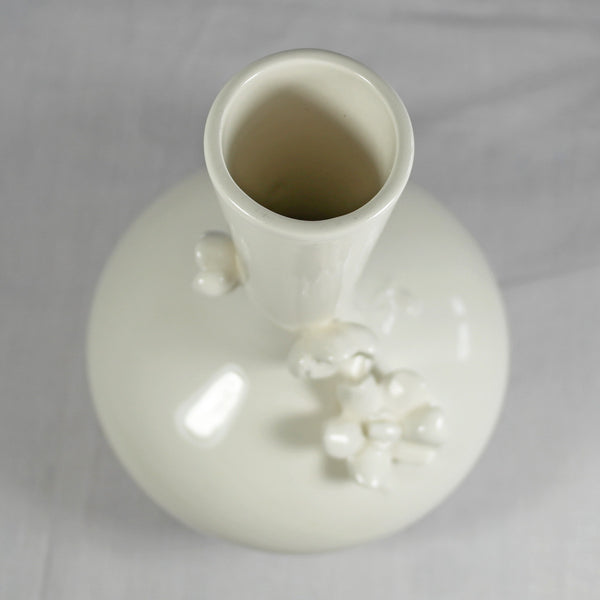 White Ceramic Vase with 3D Flowers