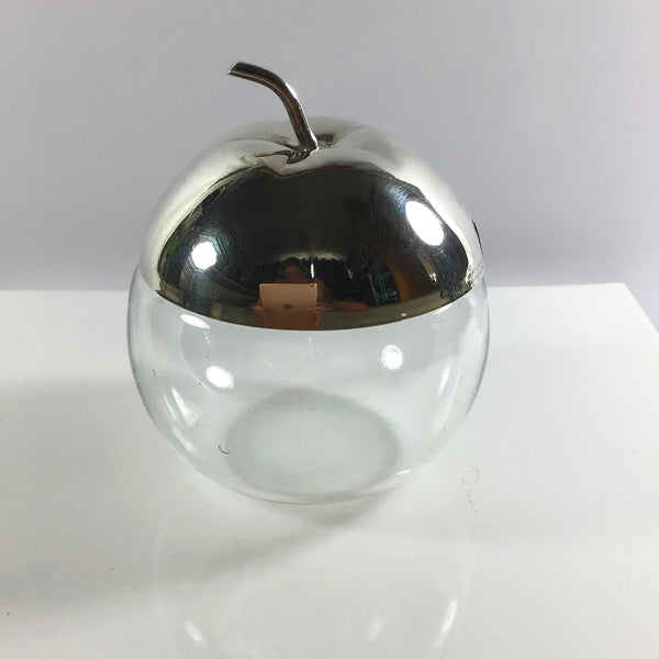 Glass apple shape preserve pot with silver plate lid