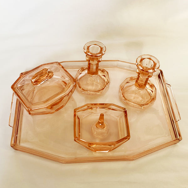 Art Deco Pink Glass Vanity Dressing Table Set